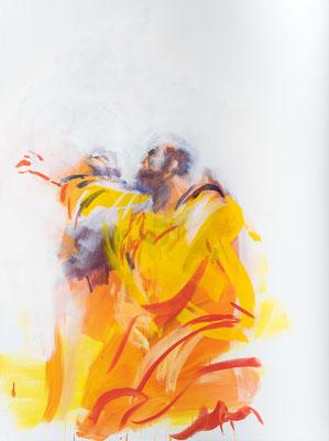 """Der Auferstandene stärkt Thomas im Glauben, Acryl, 120x90cm, 2019, frei nach Kremser Schmidt: """"Ungläubiger Thomas"""", Öl, 95x74cm, 1783, Stift Göttweig"""