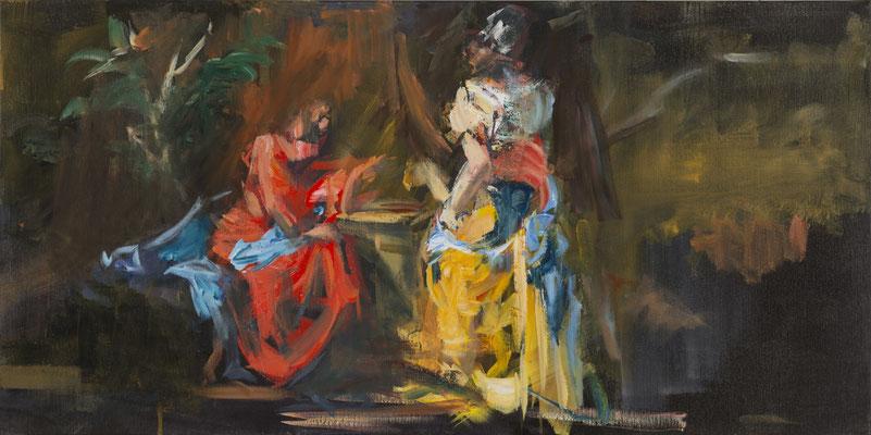 Gespräch am Jakobsbrunnen, Acryl | 50x100 | 2015, frei nach KS : Christus und die Samariterin am Jakobsbrunnen, Öl, 84x186cm, 1760 Stift Seitenstetten
