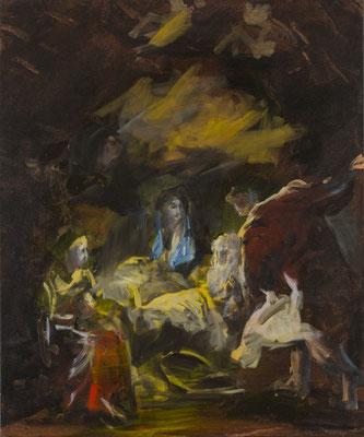 Anbetung der Hirten und Engel, Acryl | 60x50cm| 2015, frei nach KS : Anbetung der Hirten, Öl, 102x74cm, 1780, Stift Seitenstetten