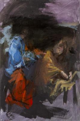 Versuchung CHristi, Acryl | 120x80cm | 2015, frei nach KS : Christus wird in der Wüste vom Teufel versucht, Öl, 252x175cm, 1755, Stift Seitenstetten