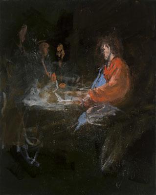 Emmausjünger, Acryl | 100x80cm | 2015, frei nach KS : Christus in Emmaus, Öl, 252x175cm, 1756, Stift Seitenstetten