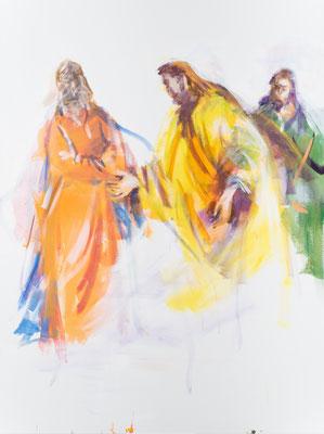 """Auf dem Weg nach Emmaus, Acryl, 120x90cm, 2019, frei nach Kremser Schmidt: u.a. """" Jesus mit den Jüngern im Ährenfeld"""", Öl, 84x186cm, 1760, Stift Seitenstetten"""