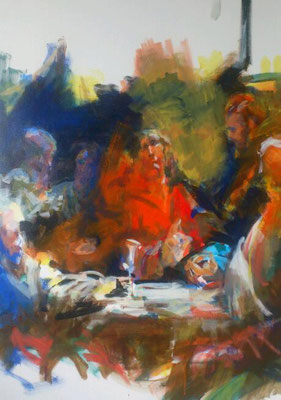 "Nehmet und trinket, Acryl | 120 x 90 cm | 2017, frei nach KS : ""Letztes Abendmahl"", Öl, 126x92cm, 1800, Pfarrkirche Kilb( Stift Göttweig)"