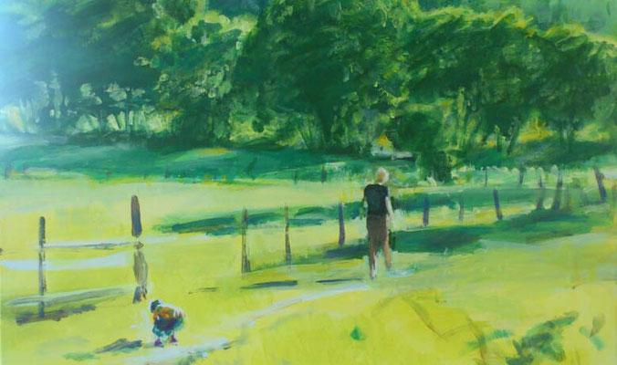 """""""Steine sammeln"""", Acryl, 70x60cm, 2014"""
