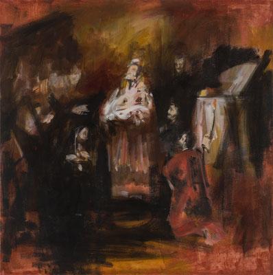Darstellung im Tempel Jerusalems, Acryl | 90x90cm | 2015, frei nach KS : Darstellung Christi im Tempel, Öl, 50x64cm, 1798, Stift SeitenstettenÖl,
