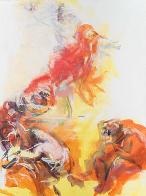 """Der Gekreuzigte ist auferstanden, Acryl, 120x90cm, 2019, frei nach Kremser Schmidt: """"Auferstehung Christi"""", 36x21,6cm, Öl, 1775, Alte Galerie Graz"""