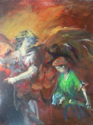Erzengel Raphael (Siehe Dein Schatten), Acryl | 60x50cm | 2015, frei nach KS : Tobias und der Erzengel Raphael, Öl, 43x34cm, 1796, Stift Göttweig