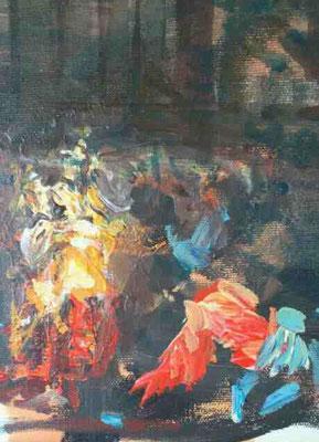 Christus und die Ehebrecherin, Acryl, 24x18cm, 2019, frei nach Kremser Schmidt