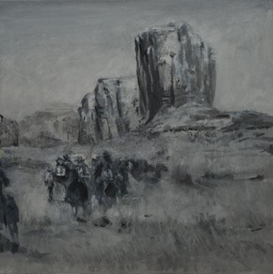 """Verfolgen"" (aus:""The Searchers, dt. Der schwarze Falke""), Acryl, 80x80cm, 2009"