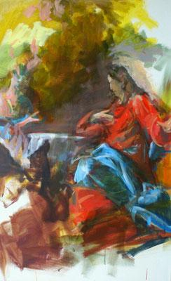 Engel dienen Christus, Acryl | 120 x 80 cm | 2015