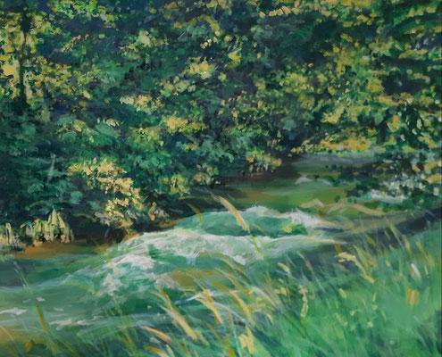 Flusslauf, Acryl, 50 x 60 cm, 2014/ 2021