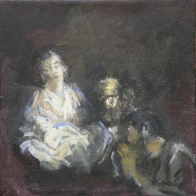 """"""" Maria mit Josef und dem Kind"""", Acryl, 30x30cm, 2018, frei nach Kremser Schmidt"""
