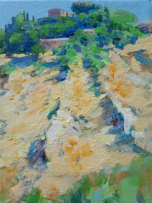 Toscana bei Monte Oliveto, Acryl, 24 x 18 cm, 2019/20