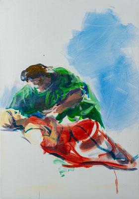 Andreas und seine Frau, Acryl | 100 x 70 cm | 2020, frei nach einem Motiv des Kremser Schmidt