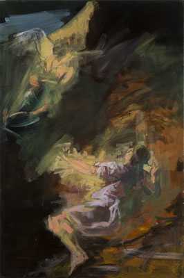 Prophet Daniel, Acryl  | 120x80cm | 2015, frei nach KS : Daniel in der Löwengrube, Öl, 229x145cm, 1774, Stift St. Paul