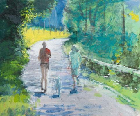 """Joggen im Juli"", Acryl, 40x30cm, 2014"
