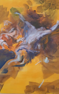 Irene verarztet Sebastian, Acryl   50 x 70 cm  , 2019/2021, frei nach Kremser Schmidt Altarbild in Maria Strassengel