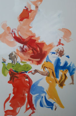 """Pfingsten"" (5.Entwurf), Acryl, 120 x 80 cm, frei nach Figurationen des El Greco"