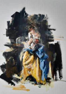 Samariterin am Jakobsbrunnen, Acryl auf Papier    ca 30 x 25 cm   2021, frei nach Kremser Schmidt