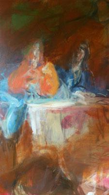 Christus als Jugendlicher lehrend, Acryl | 120x80cm | 2015, frei nach KS : Die hl. Familie bei Tisch, Öl, 286x175cm, 1763, Stift Seitenstetten
