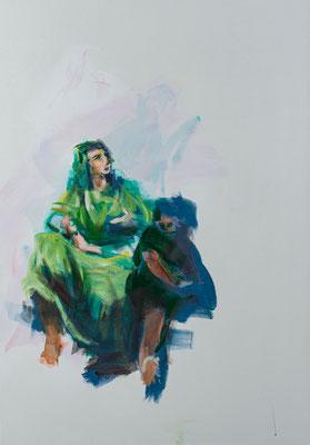 Die Frau des Bartholomäus mit Kindern, Acryl | 100 x 70 cm | 2020, frei nach Kremser Schmidt