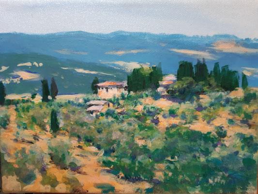 Toscana bei Volterra, Acryl, 18 x 24 cm, 2020
