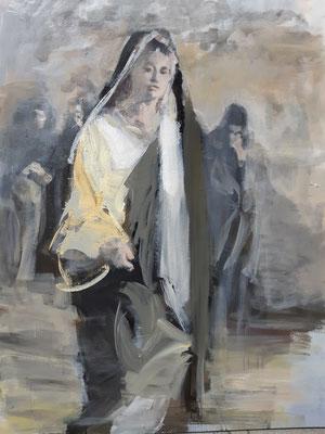 Marta von Bethanien, Acryl | 120 x 80 cm | 2020 , dieses Bild nach einer Filmszene frei nach Zeffirelli entstanden
