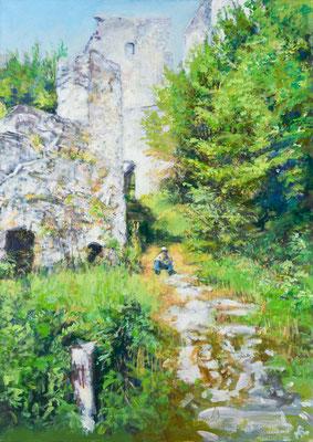 """"""" Der kleine Spielmann"""", Acryl, 100x70cm, 2011/13/19, ( Motiv: St. Gallen (Ruine), Steiermark )"""
