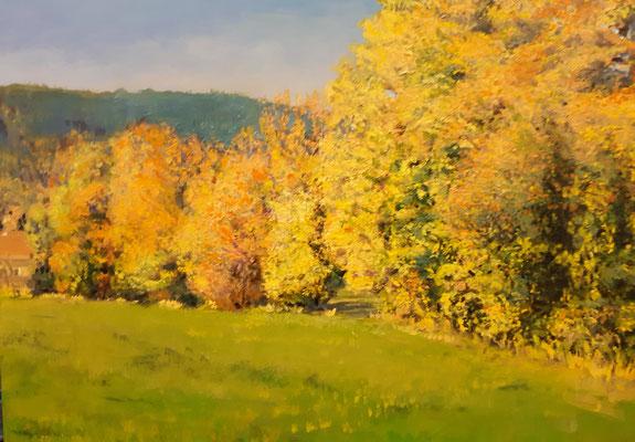 Herbstwiese in St. Radegund bei Graz, Acryl, 50 x 70 cm, 2013 / 2021