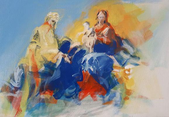 Hl. Familie, Acryl   30 x 50 cm   2021, frei nach Kremser Schmidts Entwurf für ein Altarblatt in Maria Taferl