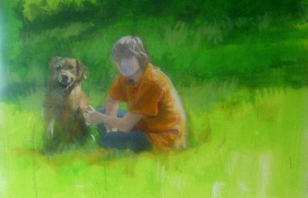"""""""Mit seinem Freund"""", Acryl, 100x70cm, 2015/16"""