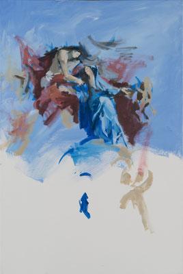 Christus begrüßt Maria im Himmel, Acryl | 90x70cm | 2015, frei nach KS : Aufnahme Mariens in den Himmel, Öl, 525x300cm, 1767, Wallfahrtskirche Sonntagberg