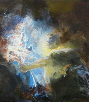 """Ein Engel beschützt"", Acryl, 30x30cm, 2018, frei nach Kremser Schmidt"