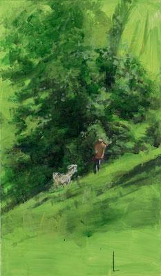 """""""Laufen mit seinem Hund"""", Acryl, 70x120cm, 2015/16"""