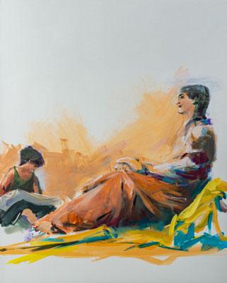 Die Frau des Matthäus, Acryl | 100 x 80 cm | 2020, frei nach Kremser Schmidt