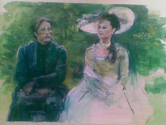 """""""Affäre mit einer Königin"""" (zu: """"Der Leibarzt und die Königin""""), Acryl, 50x70cm, 2013"""