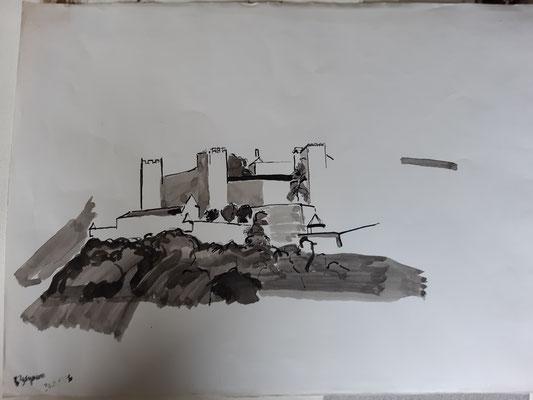 Hohensalzburg, Tusche laviert, 1976