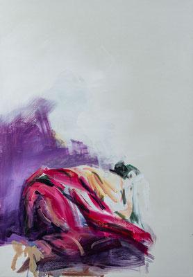 Die verzweiflung der Frau des Judas Iskarioth, Acryl | 100 x 70 cm | 2020, frei nach Kremser Schmidt