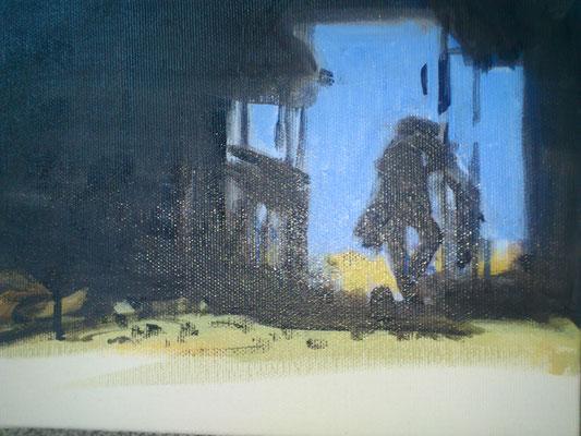 """""""Durchprüfend"""" (zu:""""Spiel mir das ...""""), Acryl, 18x24cm, 2016"""