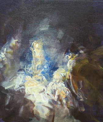 """""""Anbetung der Hirten"""", Acryl, 30x30cm, 2018, frei nach Kremser Schmidt"""