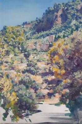 Mallorca zwischen Valldemossa und Soller, Acryl, 50 x70 cm, 2021