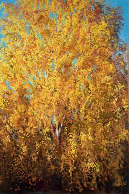 Birke im Oktober (Oktobergold), Acryl, 150 x 100 cm, 2013 / 2014