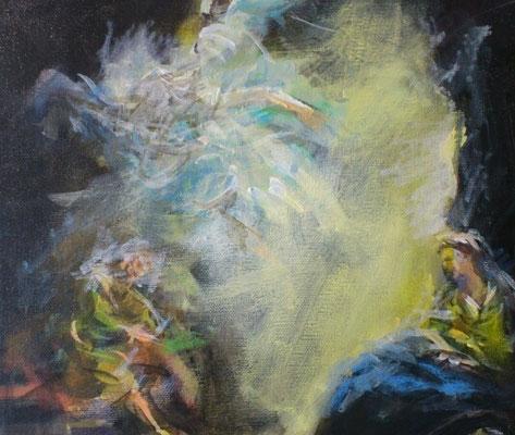 """""""Traum des Josef"""", Acryl, 30x30cm, 2018, frei nach Kremser Schmidt"""