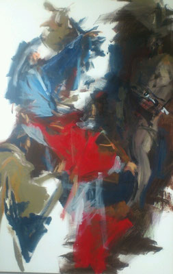 "Dagegenhalten, Acryl | 150 x 100 cm | 2016, frei nach KS : "" Martyrium des Hl. Sixtus"", Öl, 382x202cm, 1770, Pfarrkirche Ferschnitz"