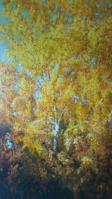 """Birkenlblätter im Oktoberlicht"", Öl/Acryl, 100x160cm, 2013"