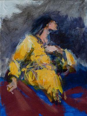 Die Frau des Apostels Thomas, Acryl | 40 x 30 cm | 2020, frei nach Kremser Schmidt