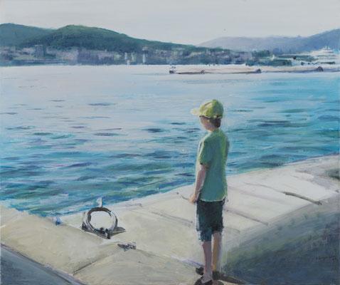 """""""Sehnen nach dem Meer (Im Hafen von Split)"""", Acryl, 50x60cm, 2014"""