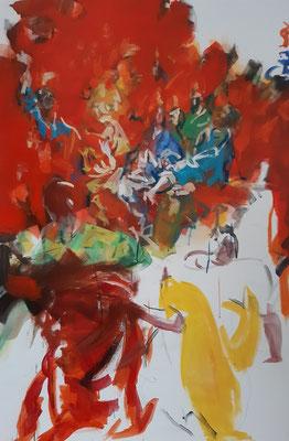 """Pfingsten""(3.Entwurf), Acryl, 120 x 80 cm, frei nach Figurationen des El Greco"