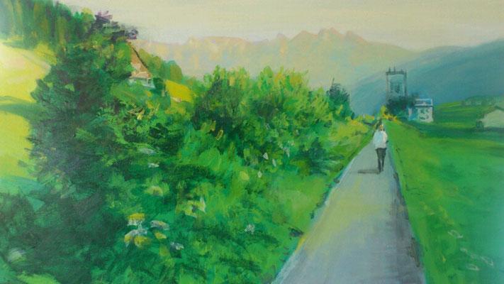 """Flott unterwegs (Gosautal)"", Acryl, 70x50cm, 2014"
