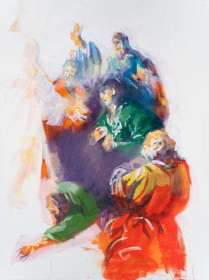 """Sie freuten sich als sie den Herrn sahen, Acryl, 120x90cm, 2019, frei nach Kremser Schmidt: """"Christus erscheint den Aposteln"""", Öl,57x66cm, 1800"""